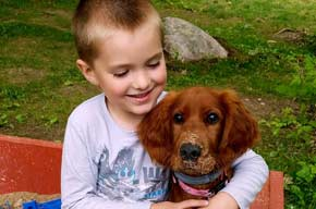 Young Boy with Irish Setter